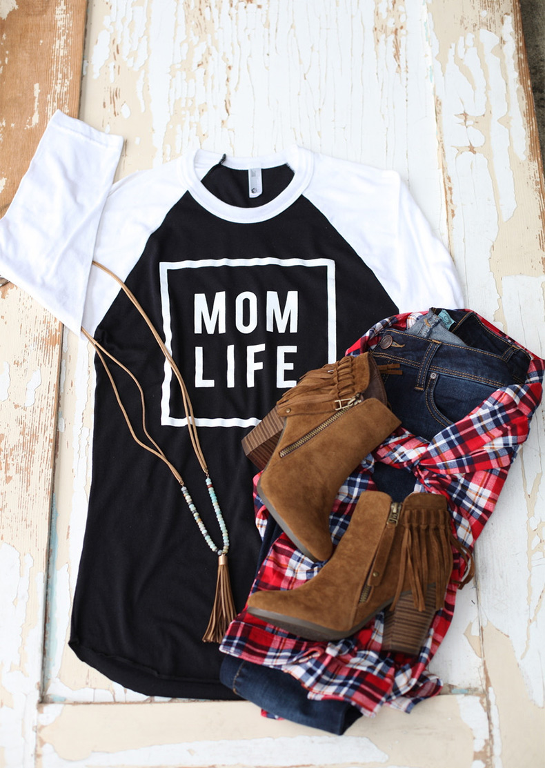 Mom Life Printed Splicing T Shirt Fairyseason