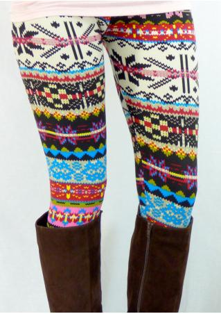 Geometric Multicolor Printed Skinny Leggings