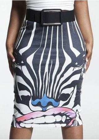 Animal Printed Knee-Length Skirt