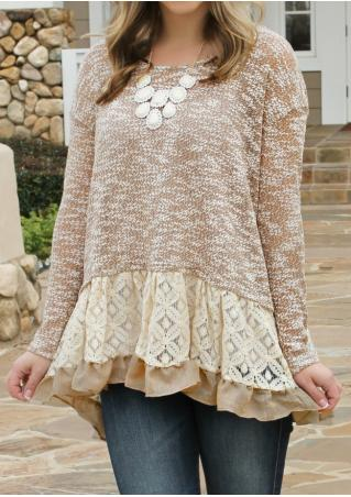 Lace Splicing  Knitted Blouse Without Necklace