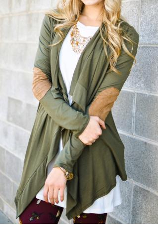 Elbow Patch Asymmetric Cardigan Without Necklace