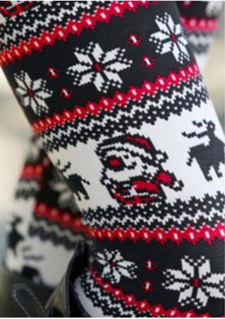 Christmas Santa Printed Skinny Leggings