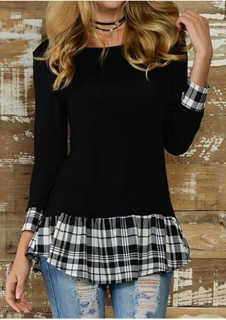 Plaid Splicing Blouse Without Necklace