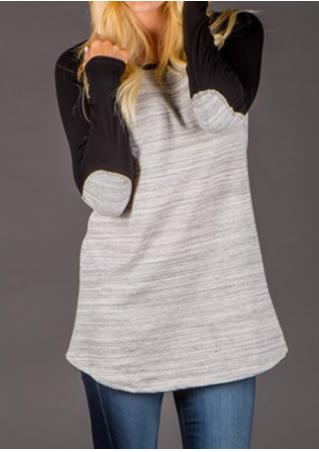 Elbow Patch Splicing Long Sleeve Blouse