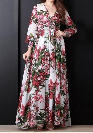 Floral Front Cross Tie V-Neck Maxi Dress