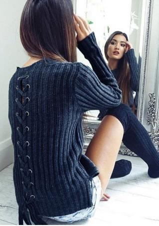 Solid Back Lace Up Sweater