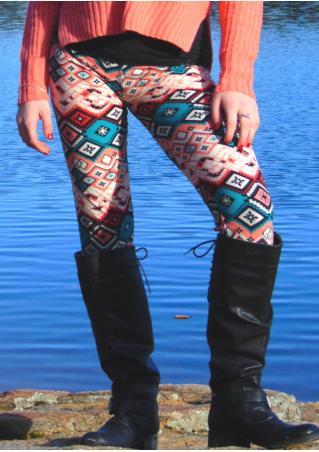 Multicolor Geometric Slim Stretchy Leggings