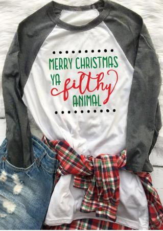 Christmas Letter Printed Casual T-Shirt Christmas