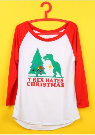 Christmas Letter Dinosaur Printed T-Shirt Christmas