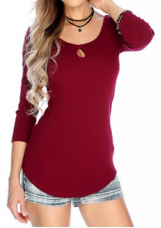 Solid Hollow Out O-Neck Blouse Without Necklace