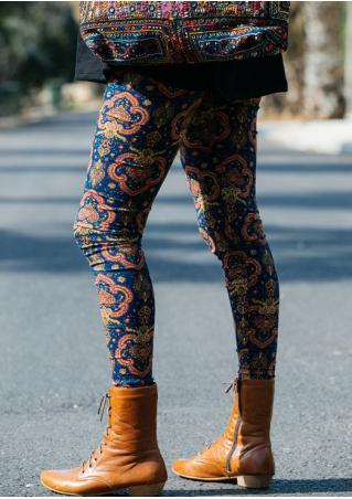 Multicolor Printed Slim Stretchy Leggings