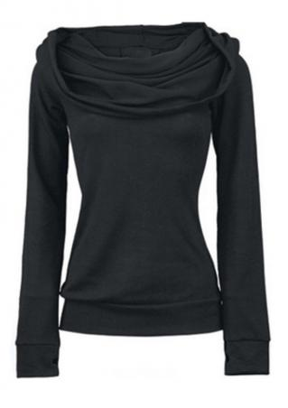 Solid Back Lace Up Long Sleeve Sweatshirt Solid