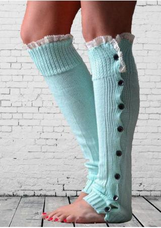 Lace Splicing Side Button Knitted Socks Lace