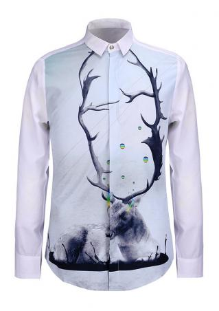 Christmas Reindeer Printed Button Shirt