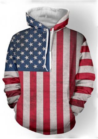 Striped Flag Printed Pocket Hoodie