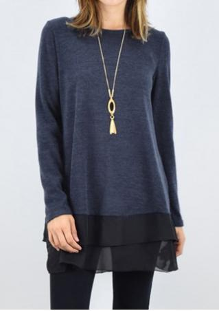 Layered Splicing Long Sleeve Blouse Without Necklace