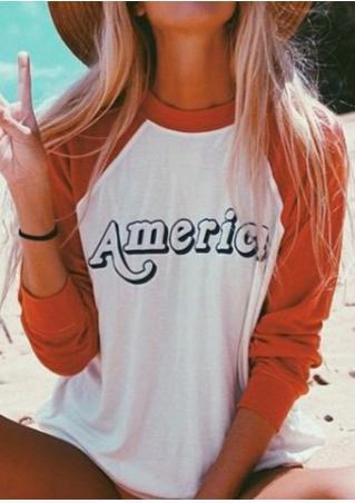 AMERICA Printed Splicing T-Shirt AMERICA