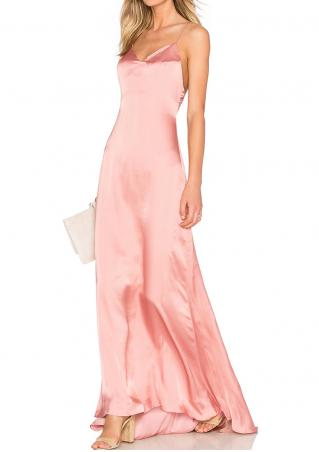Solid Aymmetric Backless Strap Maxi Dress