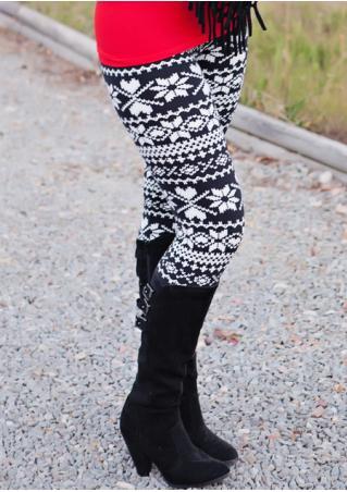 Christmas Snowflake Printed Slim Leggings