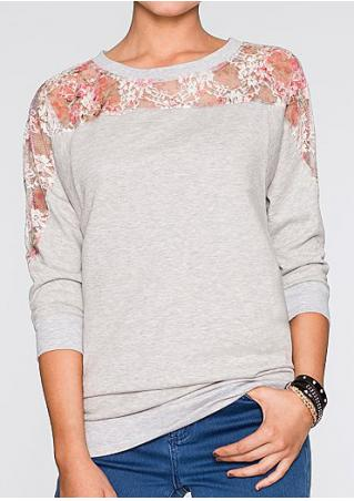 Floral Lace Splicing O-Neck T-Shirt