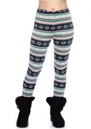 Christmas Snowflake Printed Skinny Slim Leggings