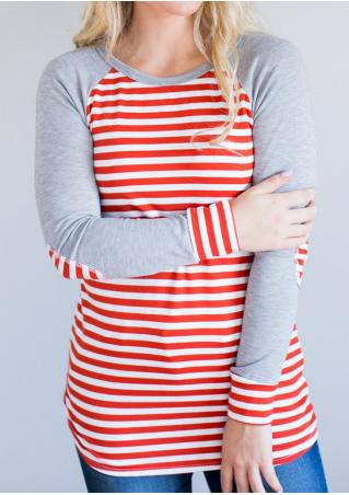 Striped Splicing Elbow Patch O-Neck T-Shirt