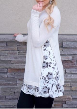 Floral Splicing Long Sleeve Casual Blouse