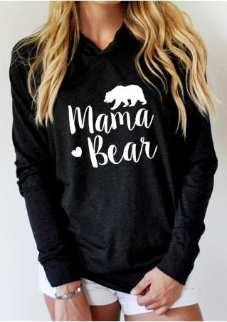MAMA BEAR Printed Long Sleeve Hoodie