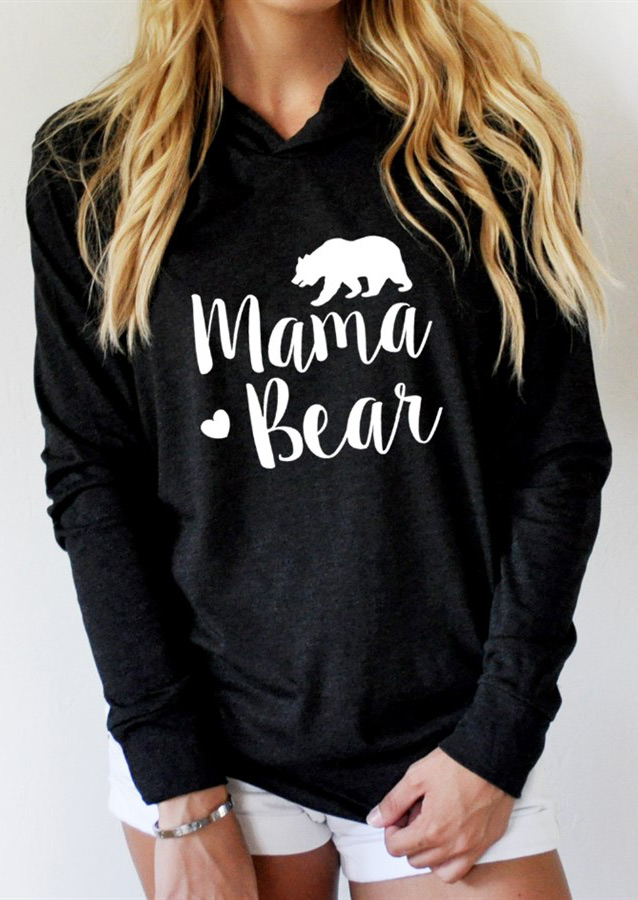 Mama Bear Printed Long Sleeve Hoodie Fairyseason