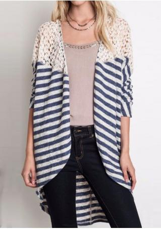 Striped Asymmetric Lace Splicing Cardigan Without Necklace