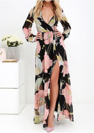 Floral Slit Deep V-Neck Dress Without Necklace