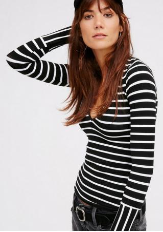 Striped V-Neck Long Sleeve T-Shirt