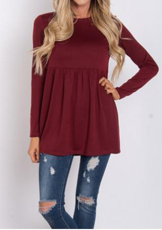 Solid Ruffled Long Sleeve Blouse