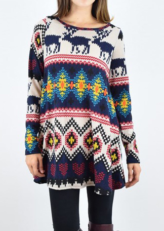 Christmas Geometric Reindeer Printed O-Neck Blouse