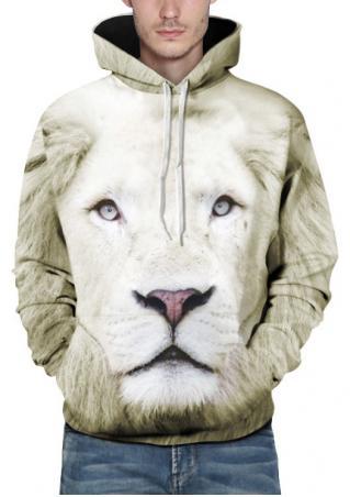 3D Lion Printed Kangaroo Pocket Hoodie