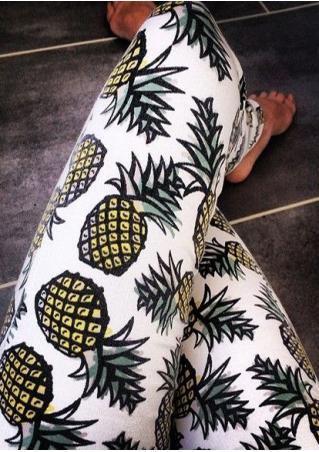 Pineapple Printed Stretchy Skinny Leggings