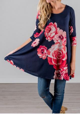 Floral Printed Loose Blouse