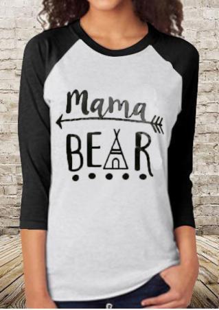 92fd8063 MAMA BEAR Printed Splicing T-Shirt - Fairyseason