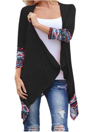Splicing Asymmetric Three Quarter Sleeve Cardigan