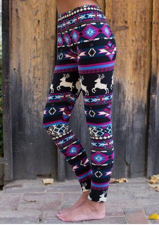 Christmas Geometric Reindeer Printed Skinny Leggings Christmas