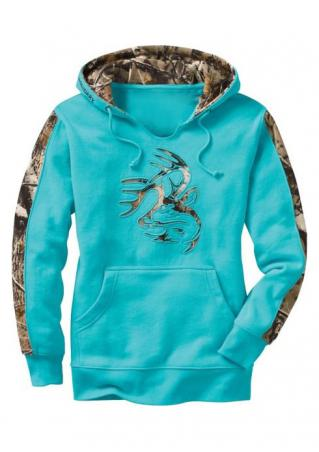 Printed Splicing Kangaroo Pocket Casual Hoodie
