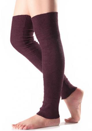 Solid Knitted Thermal Long Socks Solid