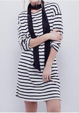 Striped Side Slit Long Sleeve Dress