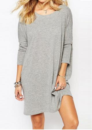 Solid Backless Long Sleeve Dress Without Necklace Solid