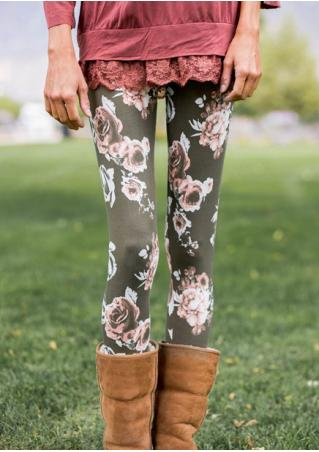 Floral Printed Skinny Leggings
