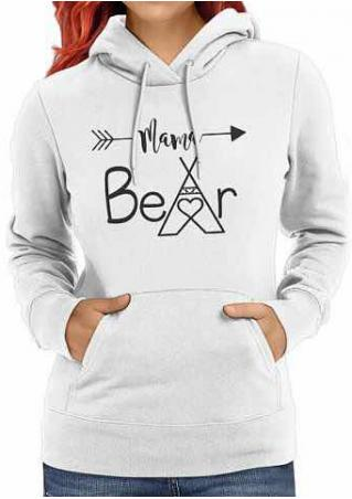MAMA BEAR Arrow Printed Drawstring Hoodie