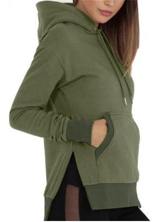 Solid Asymmetric Kangaroo Pocket Hoodie