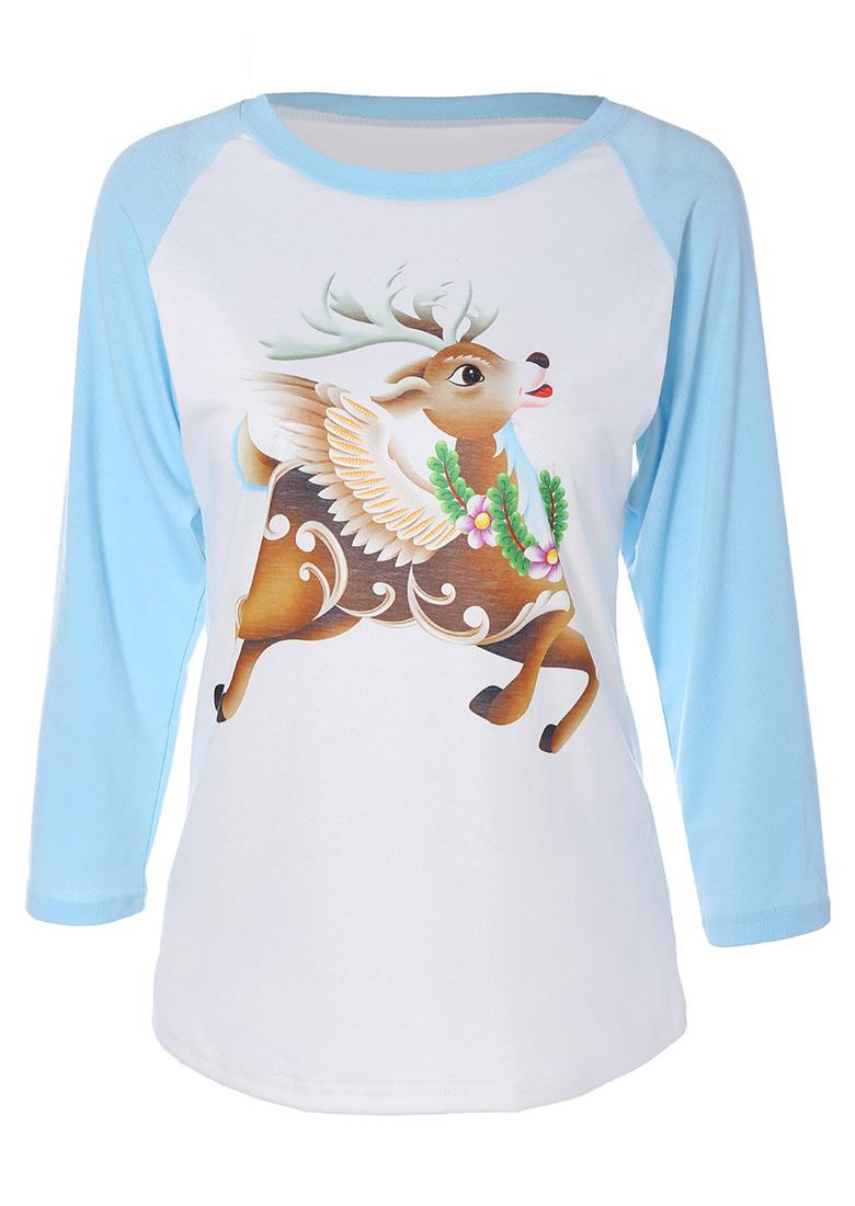 Reindeer Printed O-Neck T-Shirt