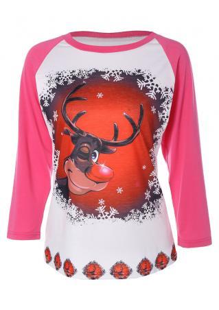 Christmas Reindeer Printed Splicing T-Shirt Christmas