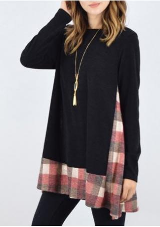 Plaid Splicing Long Blouse Without Necklace